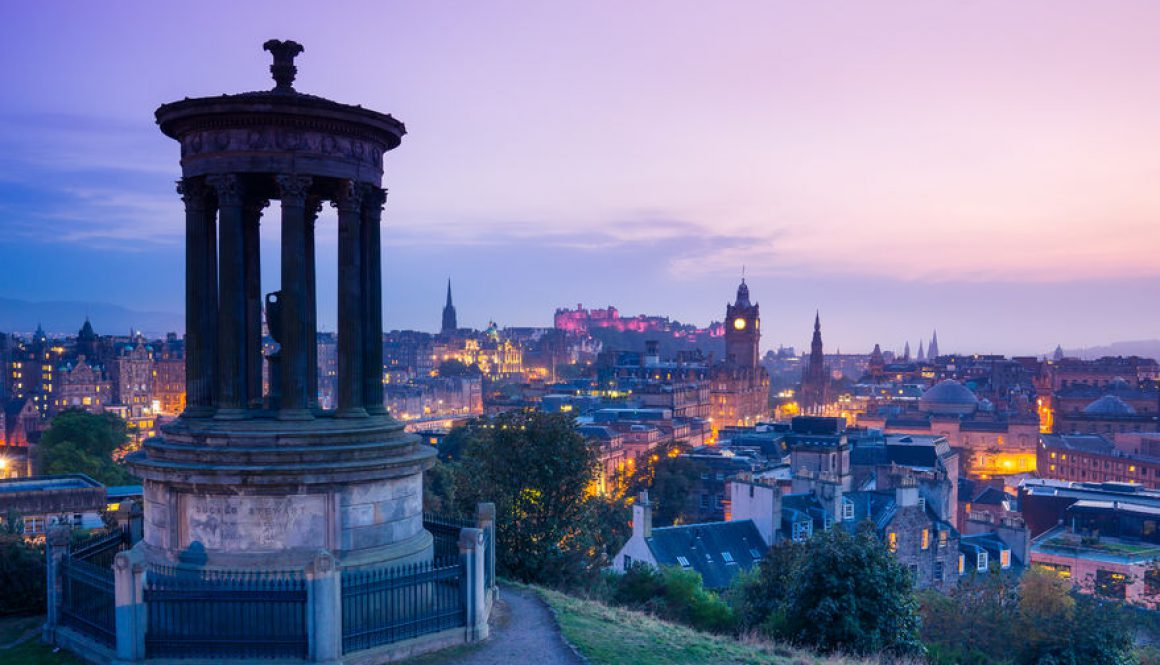 edinburgh city from calton hill at night, scotland, uk